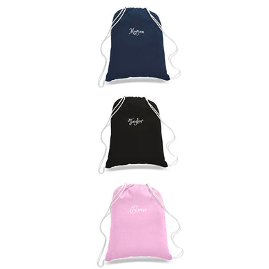 Personalized Cotton Drawstring Backpacks -3 Colors For Travel /School Bag