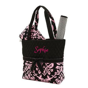 Personalized Damask Print QUILTED 3PC Diaper Bag Set | PINK