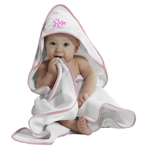 Personalized Hooded Baby Bath Towel - Pink
