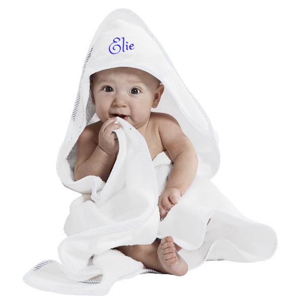 Personalized Hooded Baby Towel- WHITE