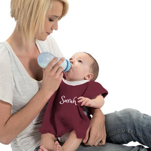 Personalized Baby bib - Velour Burgundy