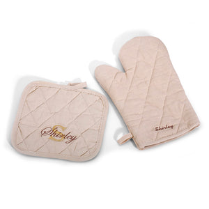 Personalized Pot Holder & Oven Mitt set, 3 Colors
