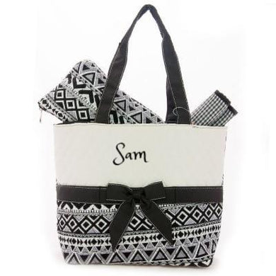 Personalized Patterned QUILTED 3PC Diaper Bag Set | BLACK