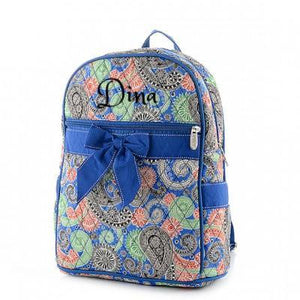 Personalized QUILTED Paisley Print Zippered Backpack | Blue