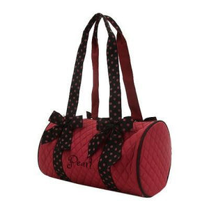 Personalized Red Quilted Solid Small Duffel Bag With Black Handles