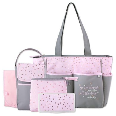 Personalized  5 in 1 Diaper Bag set - Pink