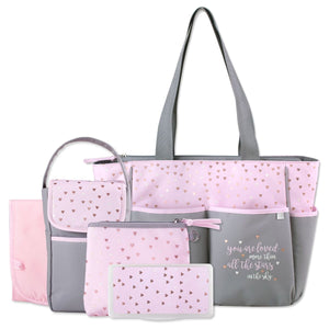 "Personalized  5 in 1 Diaper Bag set - Pink ""Stars"" Changing Pad & Cosmetic Purse Included"
