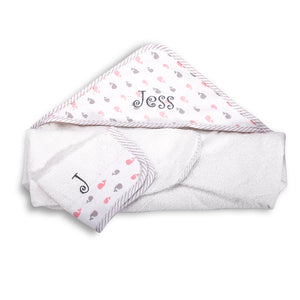 Personalized Hooded Baby Towel And Washcloth - PINK