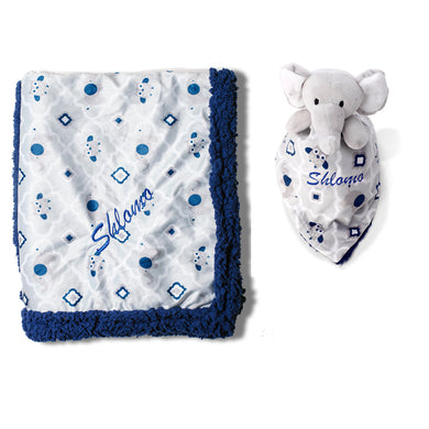 Personalized Animal Blanket & security blanket Set For Baby - Elephant
