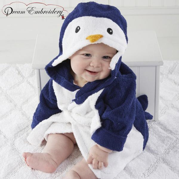 Personalized Baby Bathrobe 2T & 3T -Penguin