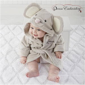 Personalized Baby Bathrobe 2T & 3T -Mouse