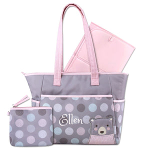 Personalized 3 in 1 Diaper Bag set - Pink Bear Changing Pad & Cosmetic Purse Included