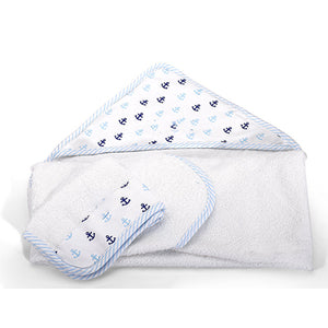 Personalized Hooded Baby Towel And Washcloth - Blue