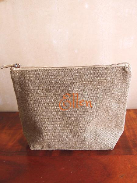 Personalized Zippered Jute / Canvas Pouch Cosmetic Bag