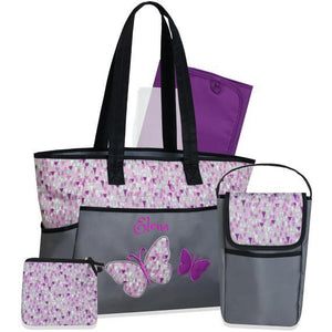 Personalized  5 in 1 Diaper Bag set - Purple Butterfly Changing Pad & Cosmetic Purse Included