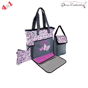 Personalized 4 in 1 Diaper Bag set - Fuchsia Butterfly Changing Pad & Cosmetic Purse Included