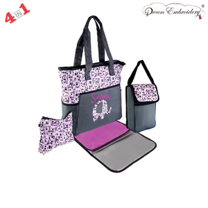 Personalized 4 in 1 Diaper Bag set - Fuchsia Elephant Changing Pad & Cosmetic Purse Included
