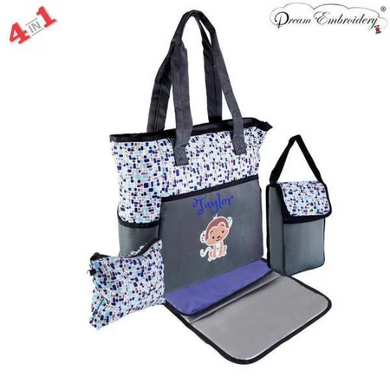 Personalized 4 in 1 Diaper Bag set - Blue Monkey Changing Pad & Cosmetic Purse Included