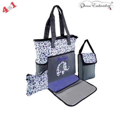 Personalized 4 in 1 Diaper Bag set - Blue Elephant Changing Pad & Cosmetic Purse Included