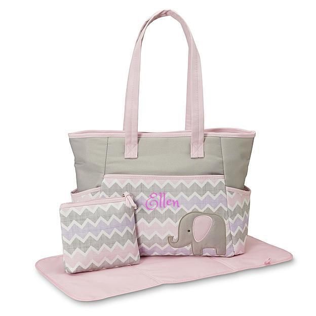 Personalized 3 in 1 Diaper Bag set - Pink Elephant & Chevron