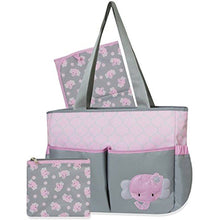 Personalized 3 in 1 Diaper Bag set - Pink Elephant Changing Pad & Cosmetic Purse Included