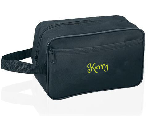 Personalized, Standard Cosmetic Travel Kit with Front Pocket - Black
