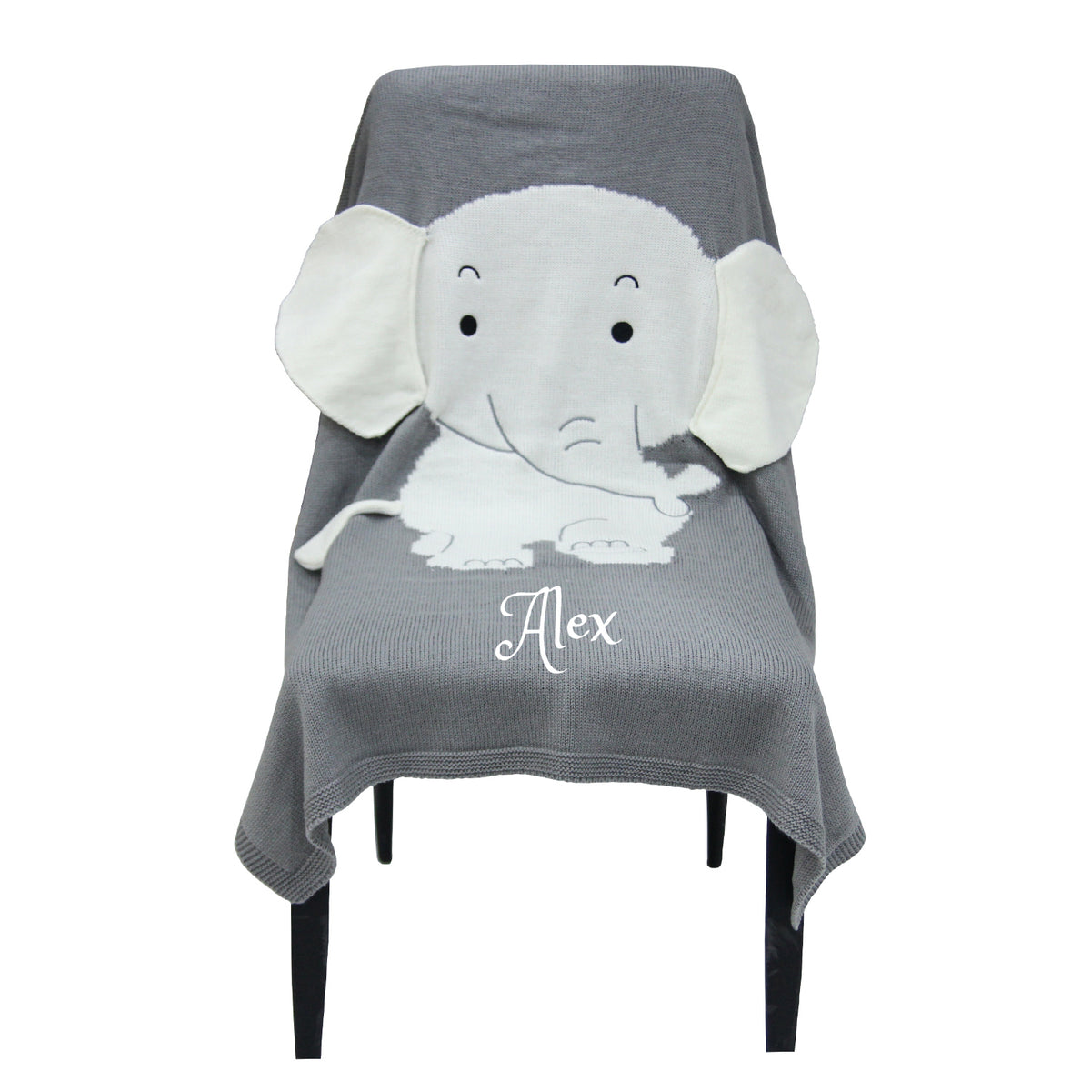 Personalized Knitted 100 Cotton Elephant 3d Blanket Grey Dream Embroidery