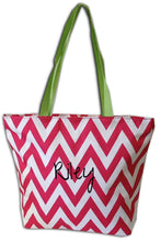 Personalized, Zippered Chevron Canvas Bag - Fuchsia with Lime