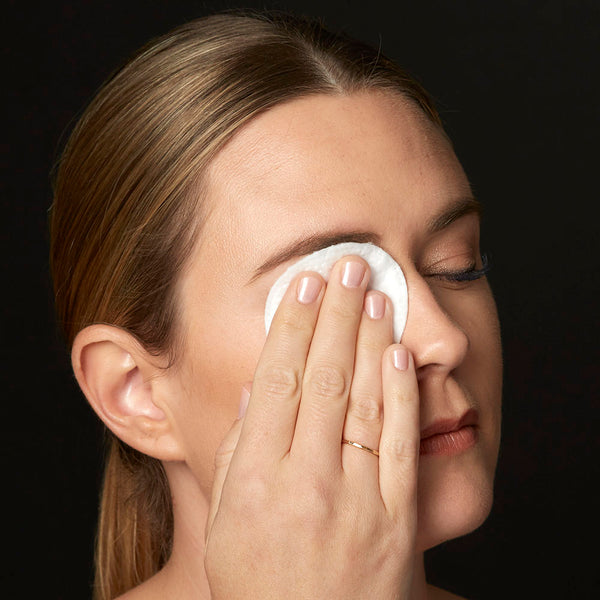 Gently press pad on closed eye for 10-15 seconds to help loosen makeup.