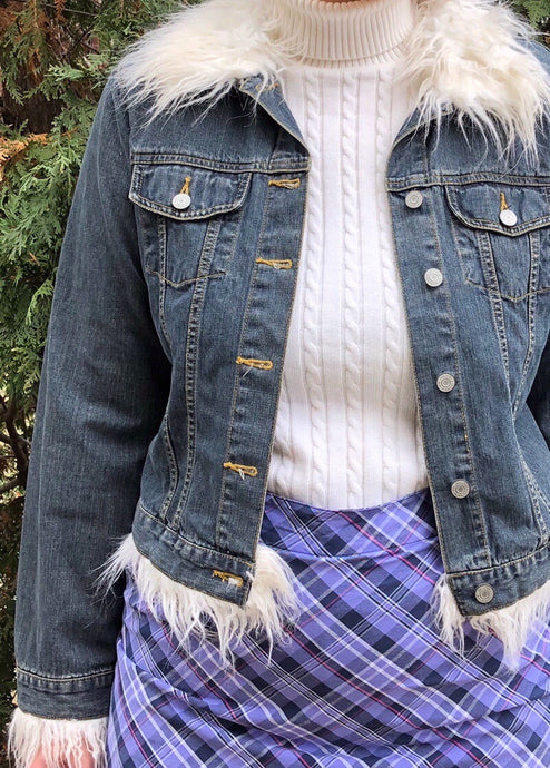 Vintage Faux Fur Trim Denim Jacket - L