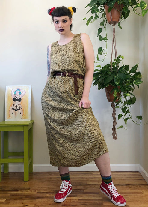Vintage Patterned Green Rayon Maxi Dress - XL