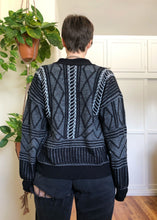 Vintage Black & White Grandpa Cardigan - XL/2X