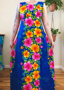 Vintage Tropical Maxi Dress - XL