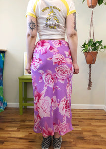 Vintage Purple & Pink Floral Maxi Skirt - L/XL