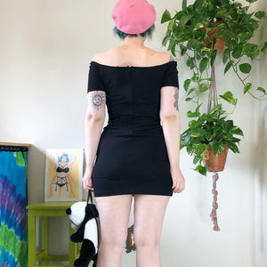 Vintage Black Mini Dress - L/XL
