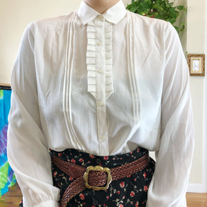 Vintage Tuxedo-Style Button Up Blouse - L/XL