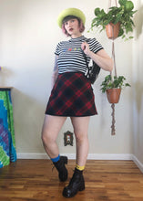 Vintage Red Plaid Mini Skirt - L/XL