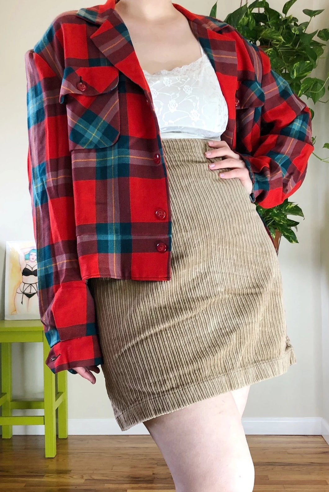 Vintage Plaid Satin-Lined Jacket - 2X/3X