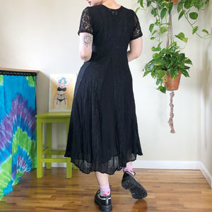 Vintage Black Lace Maxi Dress - L/XL