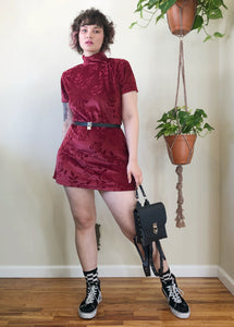 Vintage Raspberry Velvet Rose Mini Dress - L/XL