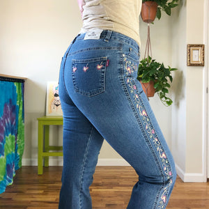 Vintage Floral Embroidered Denim Flares - L/XL