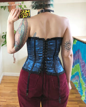 Vintage Black and Blue Corset - 2X/3X/4X/5X