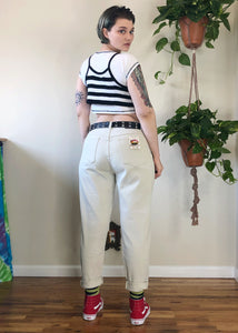 Vintage Deadstock Cream Stretch Mom Jeans - 2X/3X