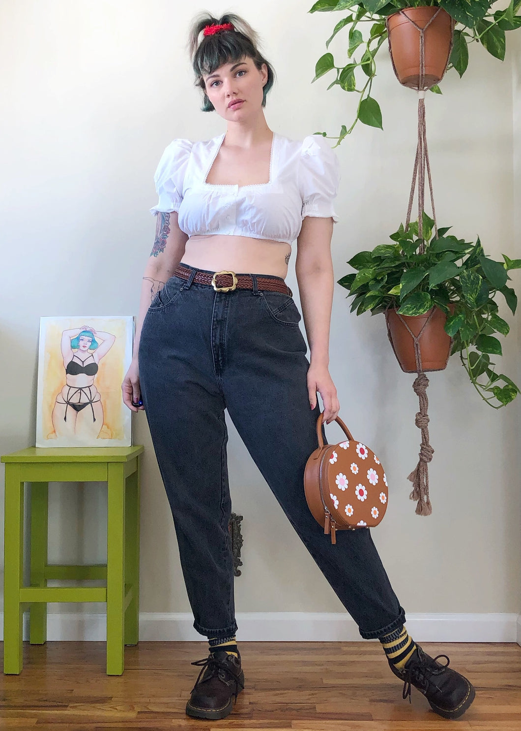 Vintage Faded Black Mom Jeans - XL