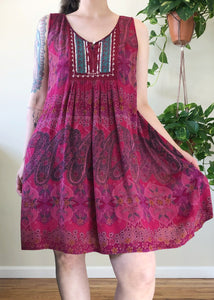 Raspberry Pink Floral & Paisley Summer Dress - L/XL/2X
