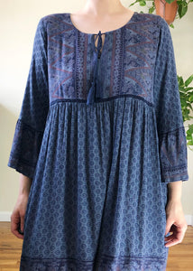 Blue Floral Prairie Dress - XL