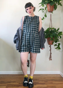 Green Plaid Romper - XL