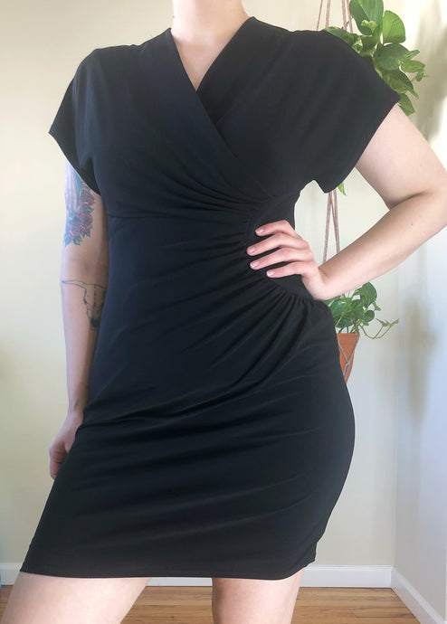 Black Ruched Criss Cross Dress - L/XL/2X