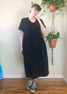 Vintage Button Up Black Maxi Dress - 3X