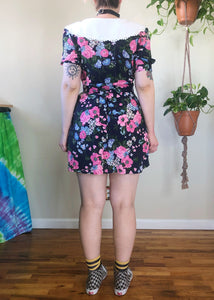 Vintage Floral Collared Mini Dress - M/L